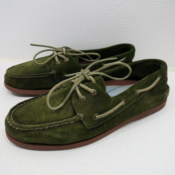 Green Suede Leather Boat Shoes | Poshmark